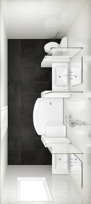 Rectangular Bathroom Layout with Enclosure, Toilet and Two Bathroom Sink