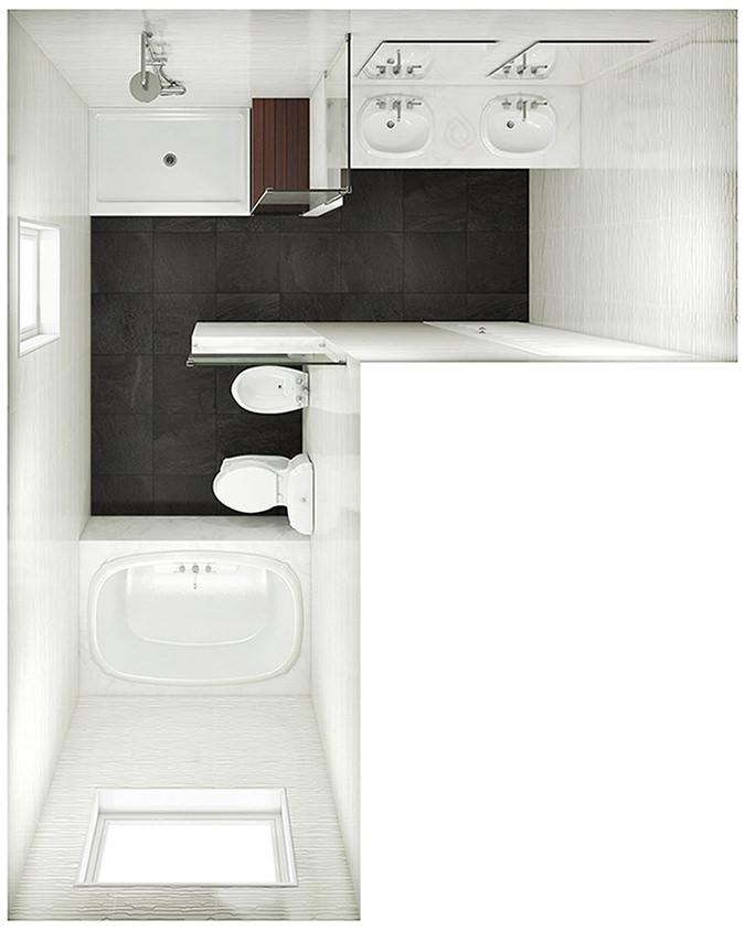P Shape Bathroom Layout