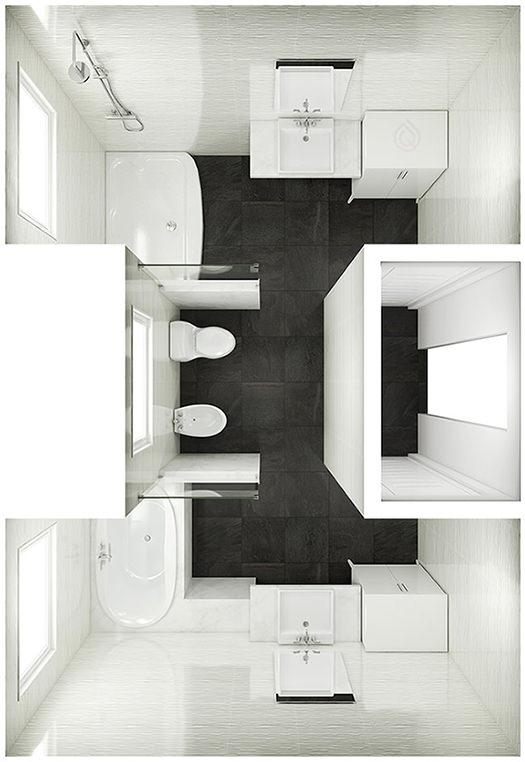 Large Bathroom Floor Plan with 2 Access Doors
