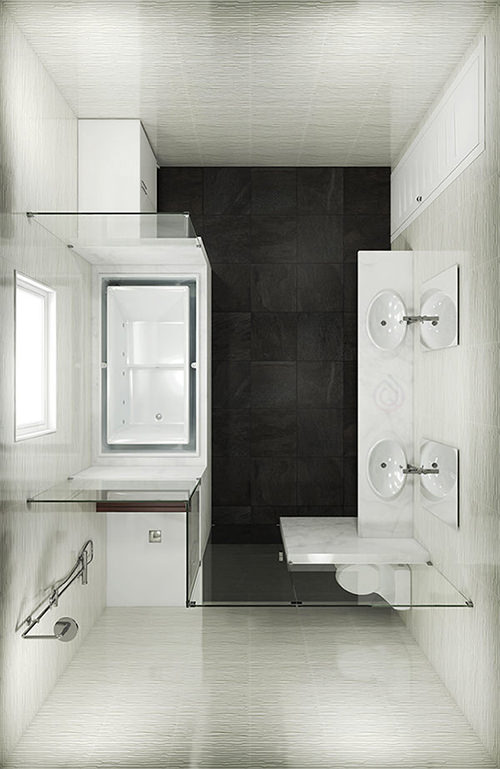 Large Bathroom Layout with Toilet Installed In the Corner