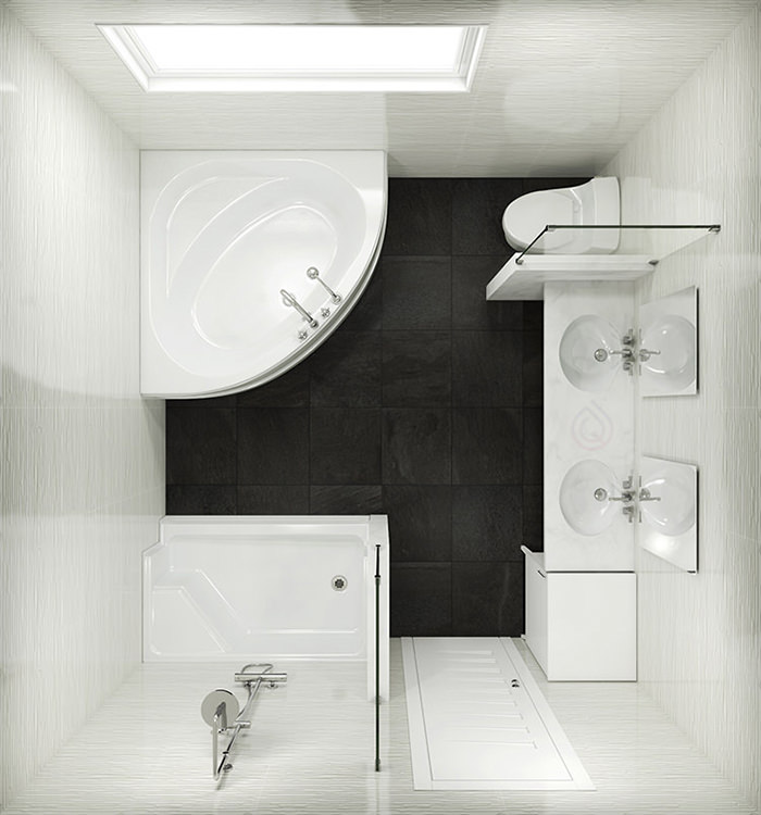Standard Size Bathroom with Corner Bath