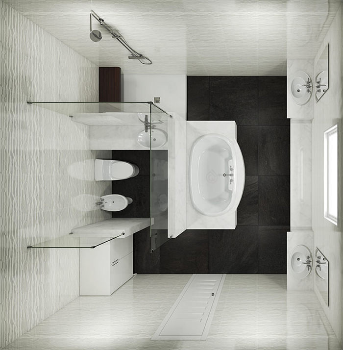 Large Bathroom with Bath In the Center and Shower Enclosure