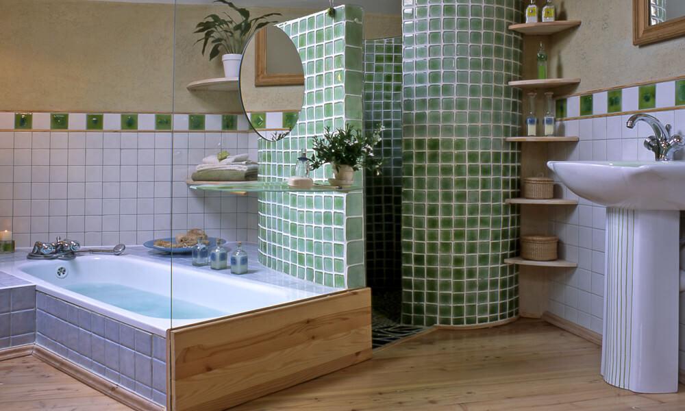 Light Green Vanity with Green Tiled Bathroom