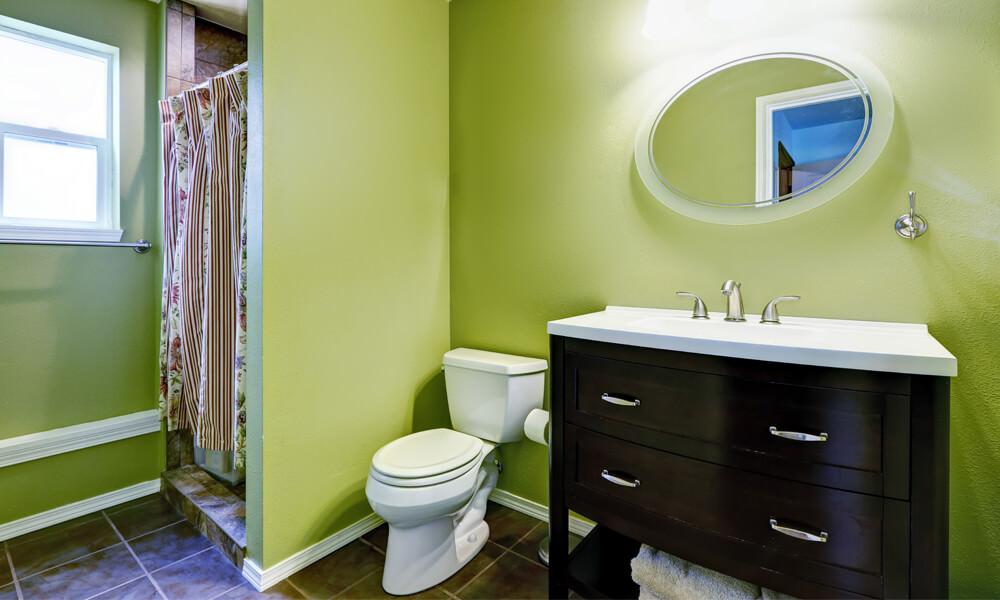 Green Bathroom Flooring With Green Tiles