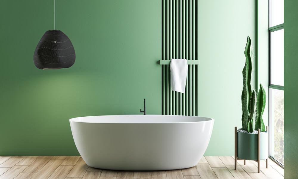 Green Stripes Bathroom with Dark Green Paint