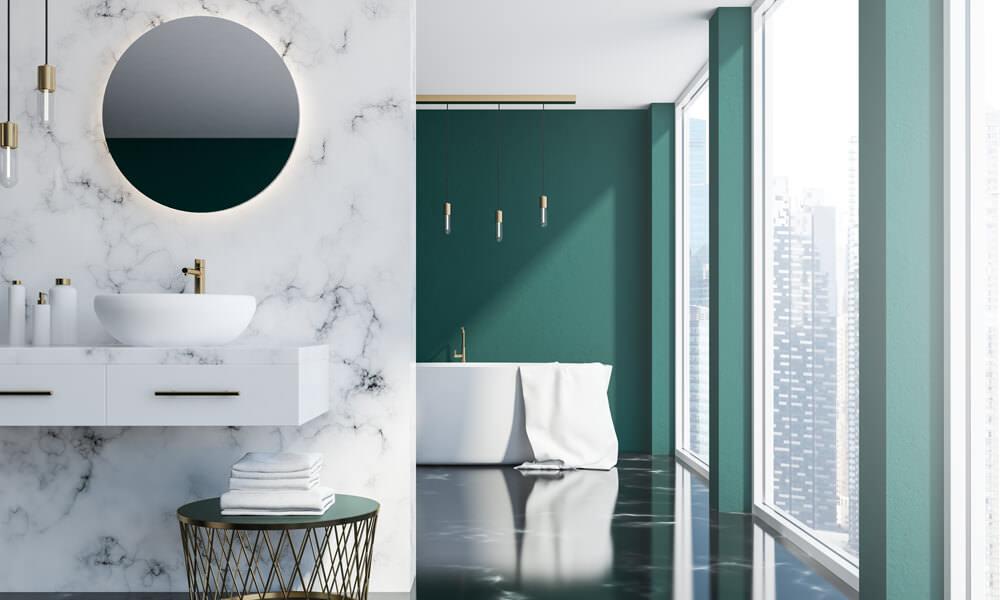 Green Floral Bathroom Decor