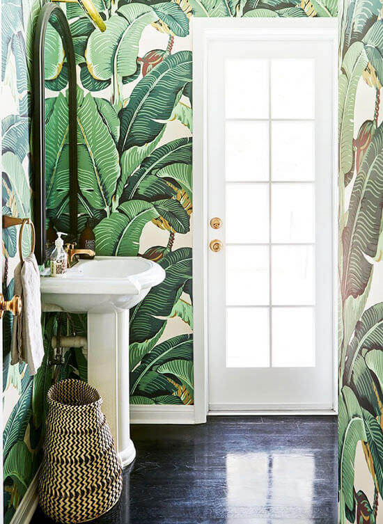 Green Bathroom Floral Wallpaper