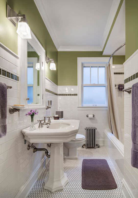 Green & White Bathroom Design