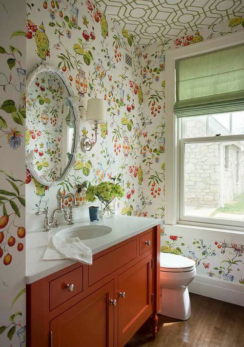 Green & White Floral Bathroom with with Green Curtain