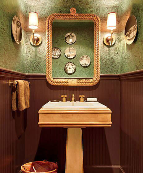 Green & Brown Bathroom with a Rope Shaped Frame