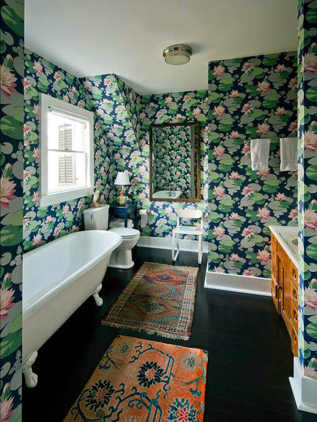 Lovely Green Floral Bathroom