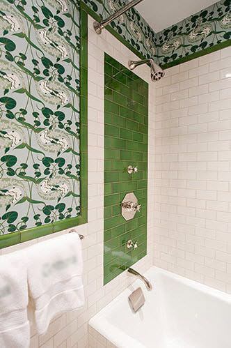Green Floral Bathroom with Green Tiles