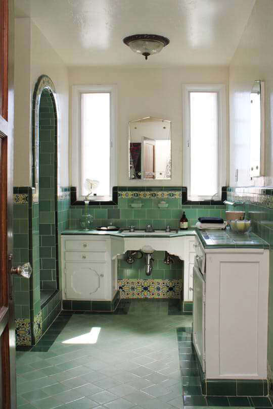 Green Tiled Bathroom