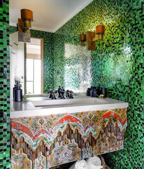 Artistic Green Tiled Bathroom