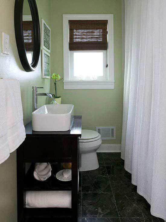 Green and White Bathroom Design