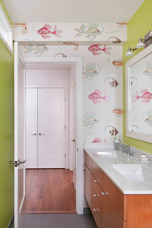 Green Bathroom Design with Fish Wallpaper