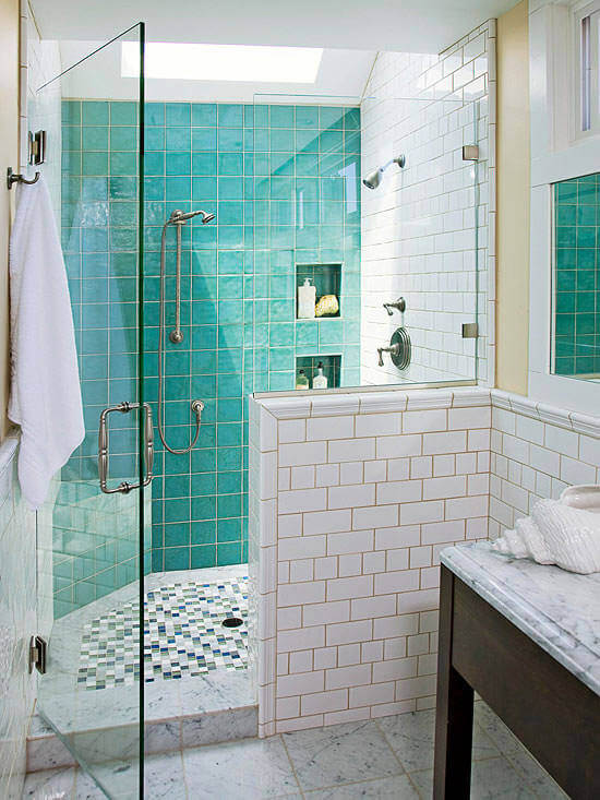 Green & White Tiled Bathroom