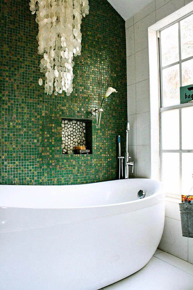 Green Mosaic Tiled Bathroom
