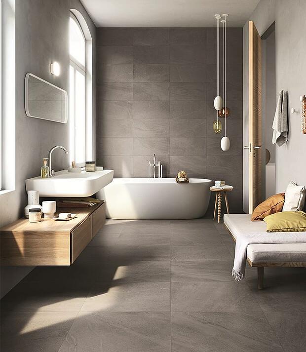 Grey Bathroom with Oak Bathroom Furniture