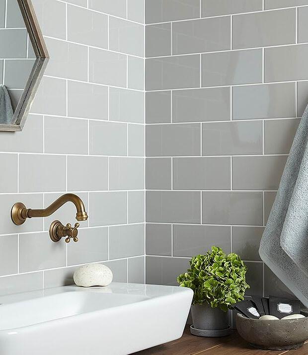 Grey Subway Tiles with White Basin