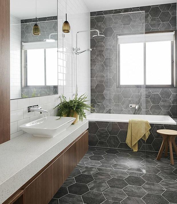 Grey Hexagon Tiles with Bath