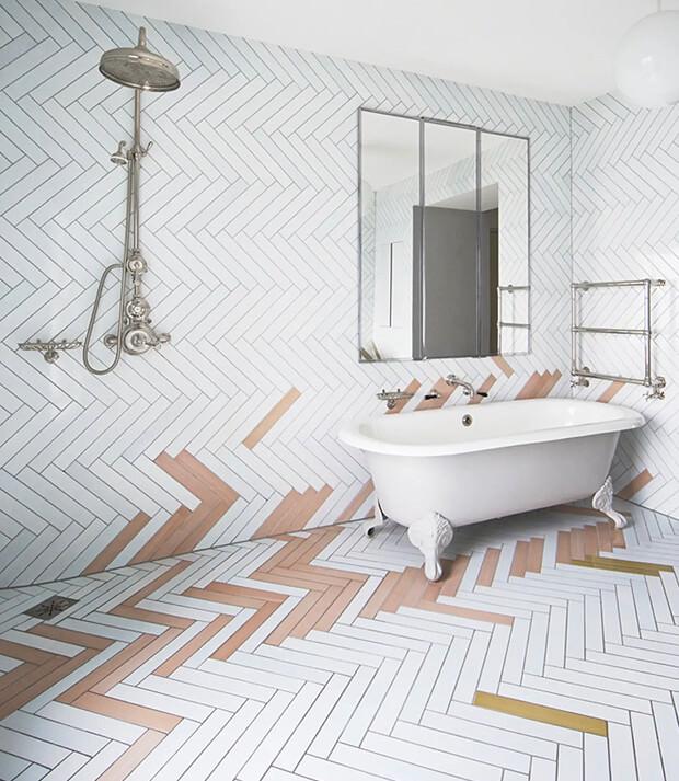 Grey Wall & Floor Bathroom Tile with Rogue Colour Tiles