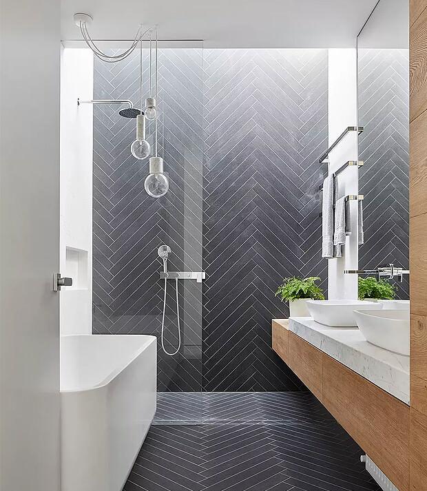 White Bathroom with Grey Tiles