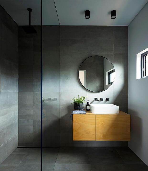 Grey Bathroom with Walk in Shower Enclosure
