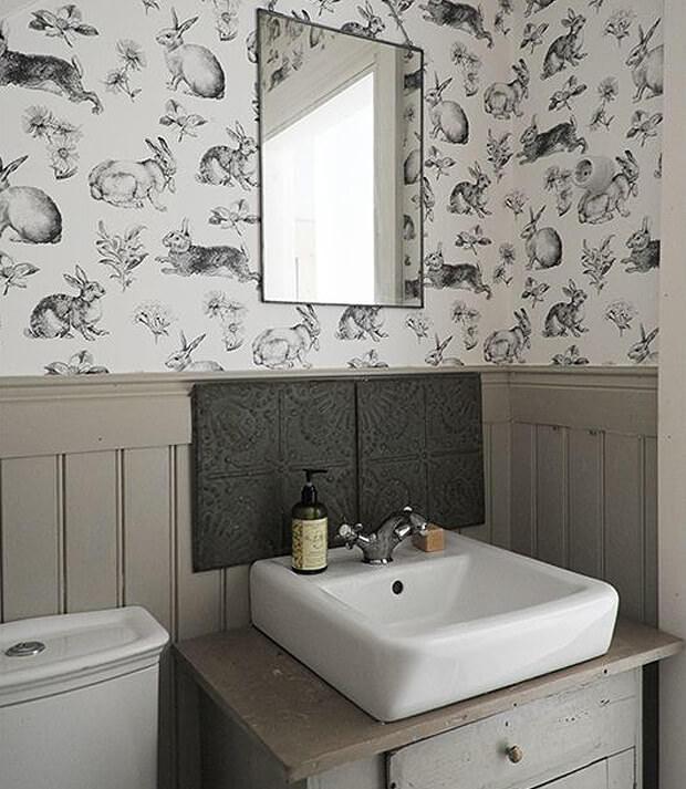 Half Panel Grey Bathroom