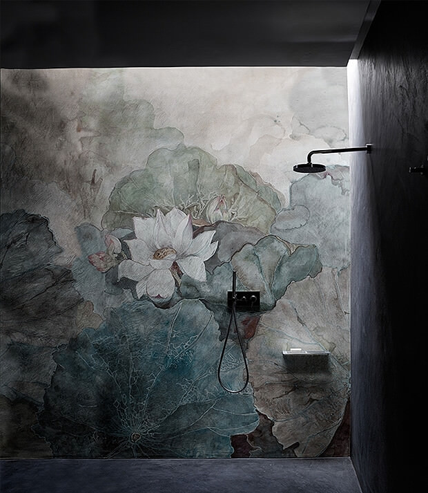 Grey Bathroom with Plant Painting