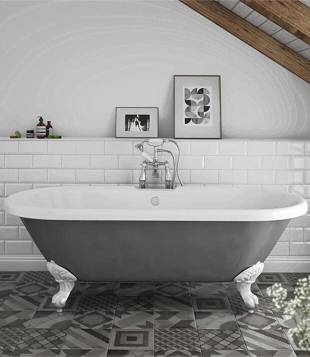 Grey Bath with White Bathroom Tiles