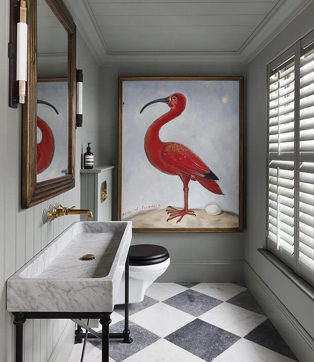 Grey Bathroom Decor with Painting