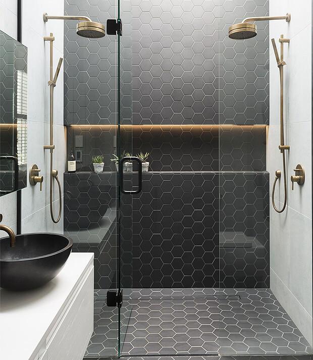Grey Bathroom Hexagon Tiles