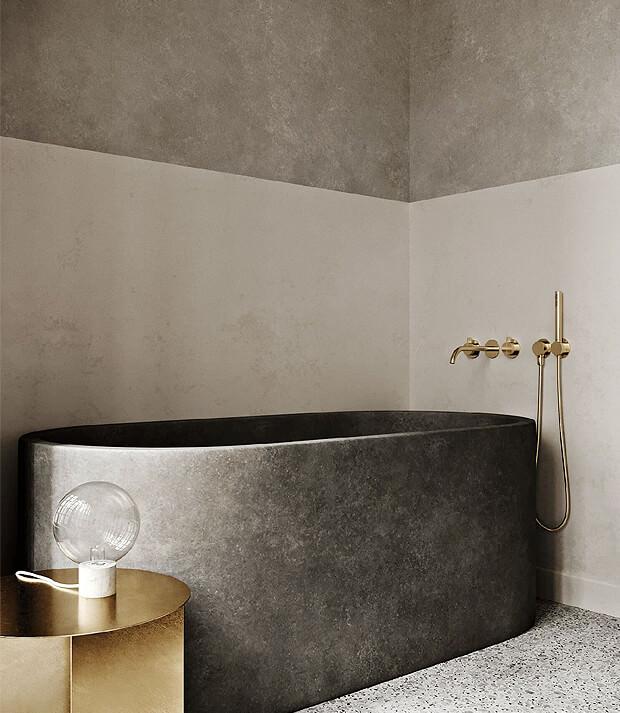 Beige Bathroom with Grey Bath