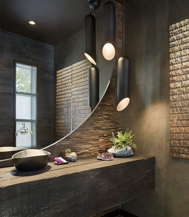 Grey Bathroom Decor with Large Mirror