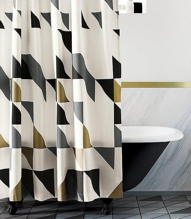 Grey Bathroom Floor Tiles with Black Bath and Curtains