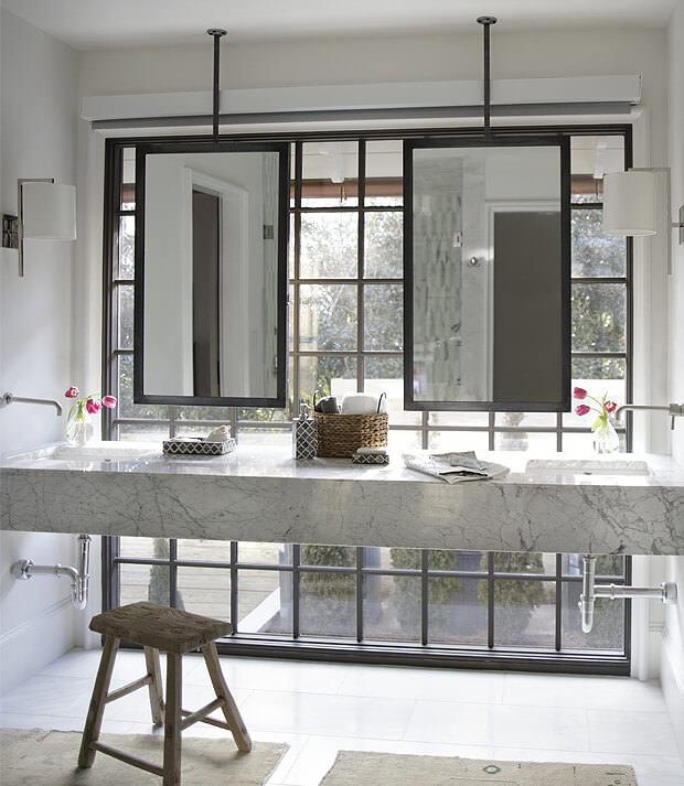 Grey Bathroom Mirror Frame and Worktop