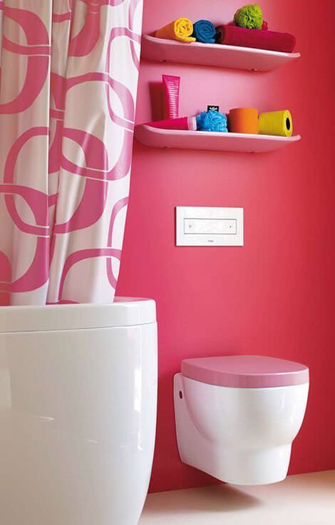 Pink Toilet Seat with Pink Bathroom Wall