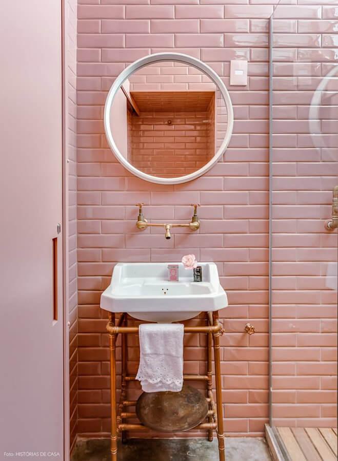 Pink Subway Bathroom Tile