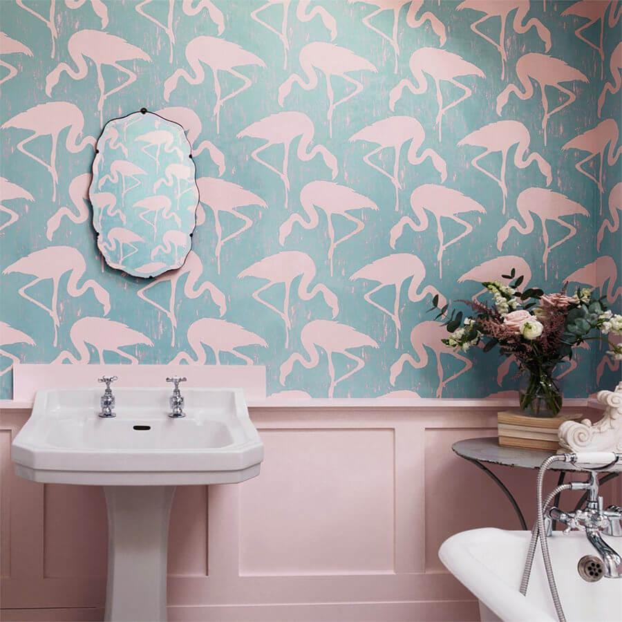 Pink Bathroom with Pink Swarn Wallpaper