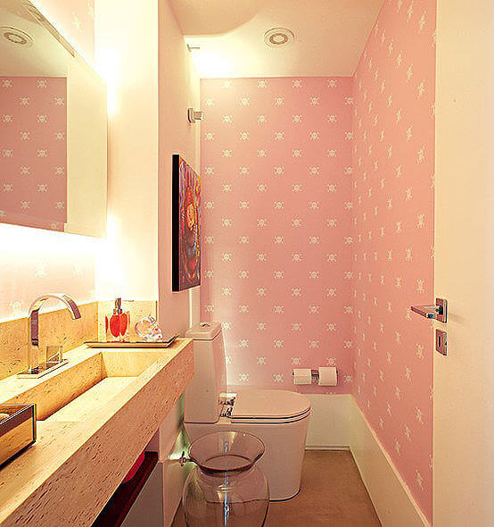 Pink and Wooden Bathroom Decor
