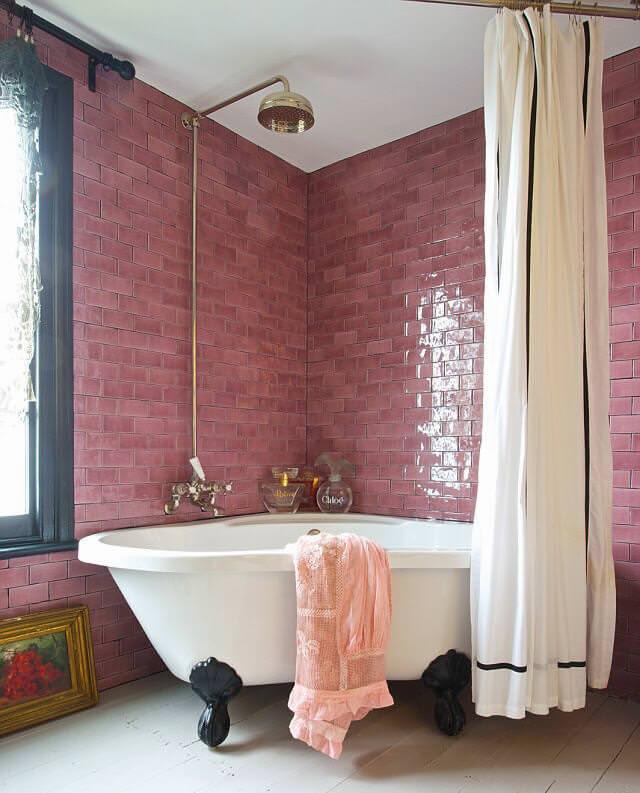 Dark Pink Subway Tile Decor