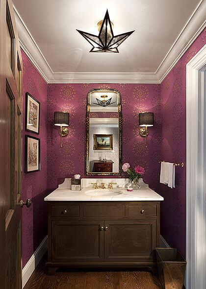 Dark Pink Bathroom Wall Paper Decor