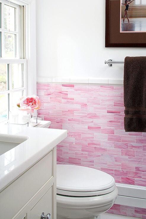 Pink Bathroom with Wooden Vanity Unit