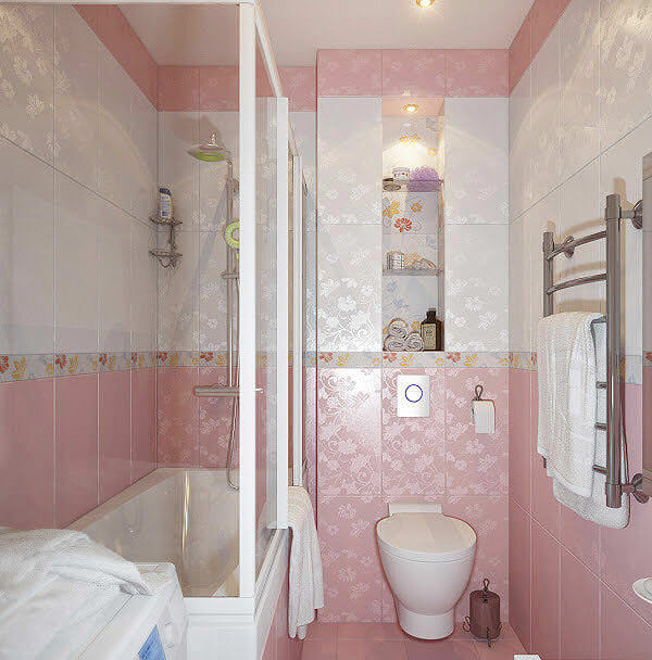 Shaded Pink Bathroom Tile