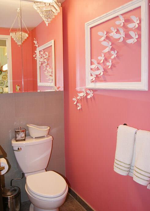Clean Pink Bathroom Decor