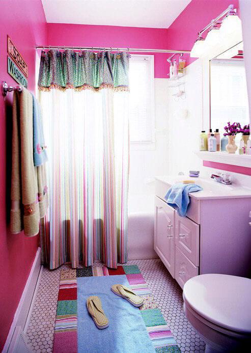 Shocking Pink Bathroom Wall Colour