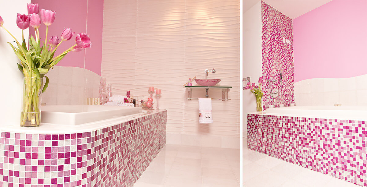 Pink Chequered Bathroom Tile