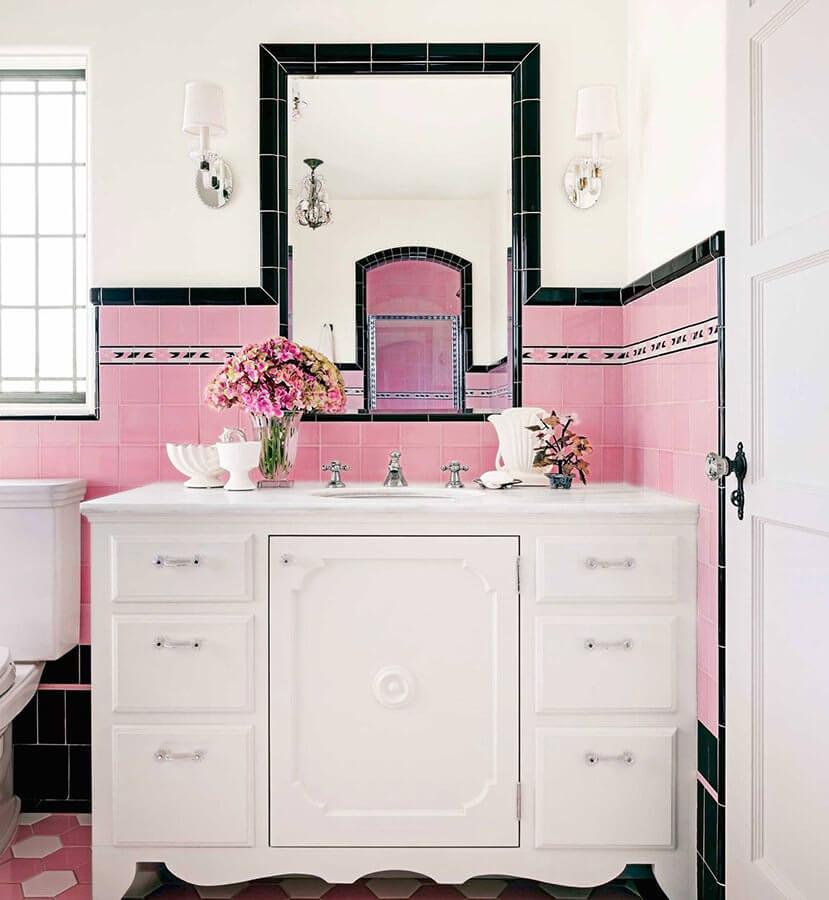 Pink & Black Bathroom Tiles Combo