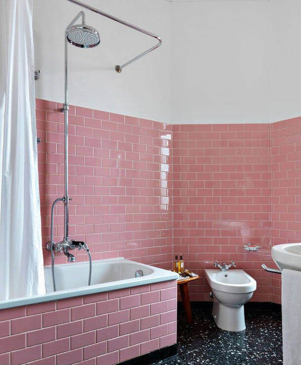Pink Bathroom Tile with Inset Bath